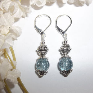 Blue and Silver Handmade Beaded Dangle Earrings